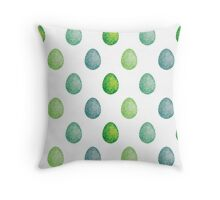 Polygonal eggs pattern in green colors Throw Pillow