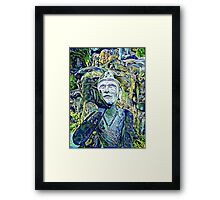 Buddha Asks Why (blue) Framed Print