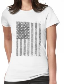 Big Black US Flag  Womens Fitted T-Shirt