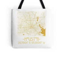 Map of Houston-Gold  Tote Bag