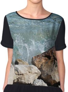Waves crashing into rocks Chiffon Top