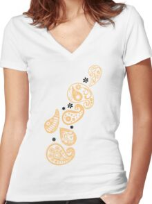 Peach Paisley Women's Fitted V-Neck T-Shirt
