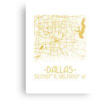 Map of Dallas-Gold Metal Print