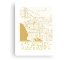 Map of Los Angeles-Gold Metal Print