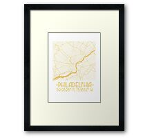 Map of Philadelphia-Gold Framed Print