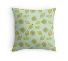 Lemons Sliced and Whole on Mint Throw Pillow