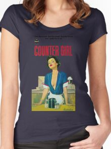 Retro Counter Girl Career Worker  Women's Fitted Scoop T-Shirt