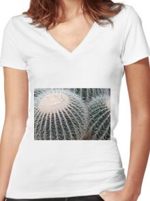 Cactus Spines Women's Fitted V-Neck T-Shirt