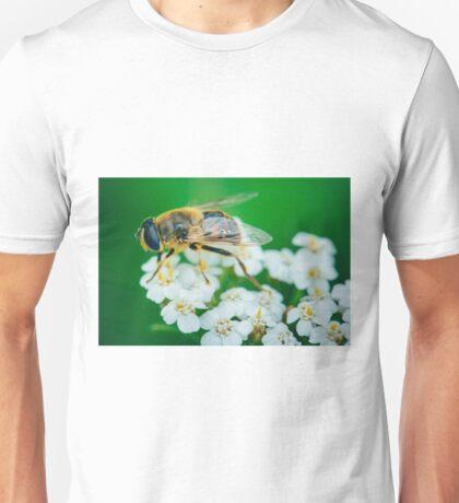 Bee on a white flower macro Unisex T-Shirt