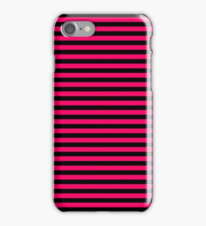 Bright Fluorescent Hot Pink Neon and Black Horizontal Stripes iPhone Case/Skin