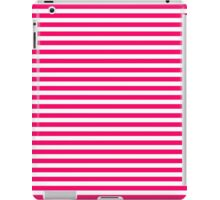 Bright Fluorescent Hot Pink Neon and White Horizontal Stripes iPad Case/Skin