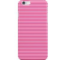 Bright Fluorescent Hot Pink Neon and White Horizontal Stripes iPhone Case/Skin