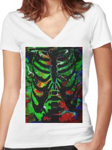 Psychadelic Ribs Women's Fitted V-Neck T-Shirt