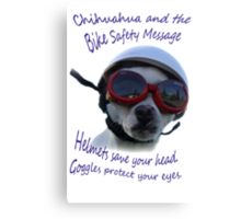 Chihuahua and the Bike Safety Message --New and Improved Tee Canvas Print