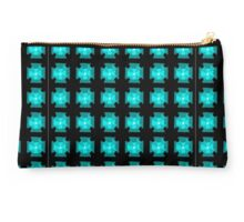 Black With Teal and Blue Cross Pattern Studio Pouch