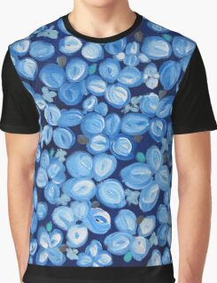 Totally Blue And White Flowers Graphic T-Shirt