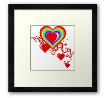 squiggle rainbow hearts Framed Print