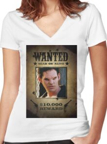 Buffy Xander Wanted 1 Women's Fitted V-Neck T-Shirt