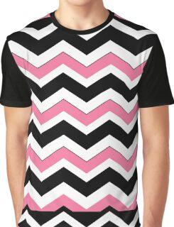 Pink, Black & White Chevron Pattern Graphic T-Shirt