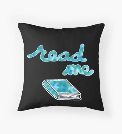 Read Me in Blue Throw Pillow