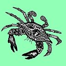 Blue Crab on Green by Casey Virata