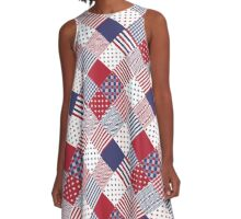 USA Americana Diagonal Red White & Blue Quilt A-Line Dress