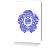 Floral Lacy Vintage Damask Indigo Blue And White  Greeting Card