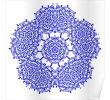 Floral Lacy Vintage Damask Indigo Blue And White  Poster