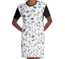 Scattered Flowers White Graphic T-Shirt Dress