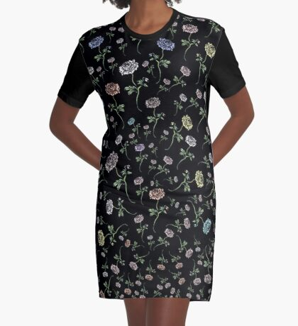 Scattered Flowers Black Graphic T-Shirt Dress