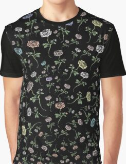 Scattered Flowers Black Graphic T-Shirt