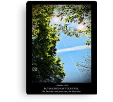 Matthew 13:16 Contrail of the Cross Canvas Print