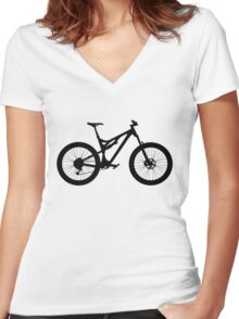 Mountain Bike Bicycle Women's Fitted V-Neck T-Shirt