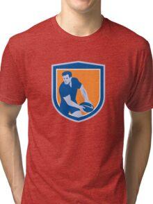 Rugby Player Passing Ball Shield Retro Tri-blend T-Shirt