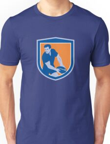 Rugby Player Passing Ball Shield Retro Unisex T-Shirt