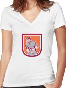 Rugby Player Passing Ball Sideview Retro Women's Fitted V-Neck T-Shirt