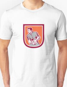 Rugby Player Passing Ball Sideview Retro Unisex T-Shirt