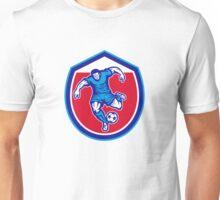 Soccer Player Running Kicking Ball Retro Unisex T-Shirt