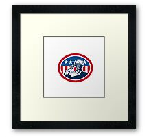 African American Soldier Salute Flag Retro Framed Print