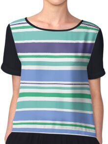 "Natural ""Emerald"" stripes Collection. Original Design Art Chiffon Top"