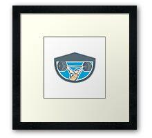 Weightlifter Lifting Barbell Shield Retro Framed Print