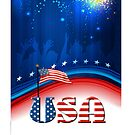 USA Patriotic Flag and Fireworks by SpiceTree