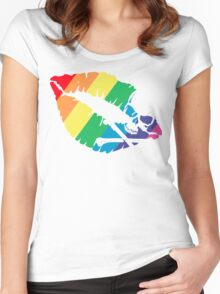 rainbow lips Women's Fitted Scoop T-Shirt