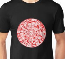 Skull Mandala in Red and White Unisex T-Shirt