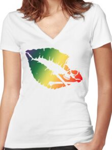 rainbow kiss Women's Fitted V-Neck T-Shirt