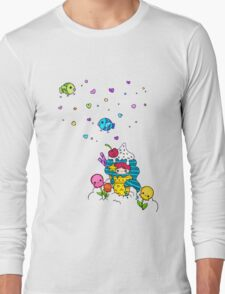 Mermaid Ice Cream with Octopus Flowers & Flying Fishes Long Sleeve T-Shirt
