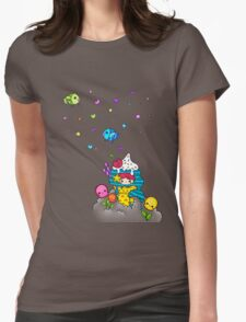 Mermaid Ice Cream with Octopus Flowers & Flying Fishes Womens Fitted T-Shirt
