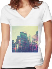 Urban Graffiti Women's Fitted V-Neck T-Shirt