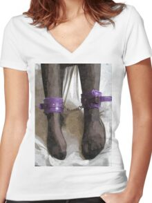 Stockings, Cuffs, and Bondage BDSM Play 2 Women's Fitted V-Neck T-Shirt