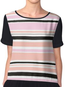 """Retro """"stripes"""" collection: peach, pink and black Chiffon Top"""